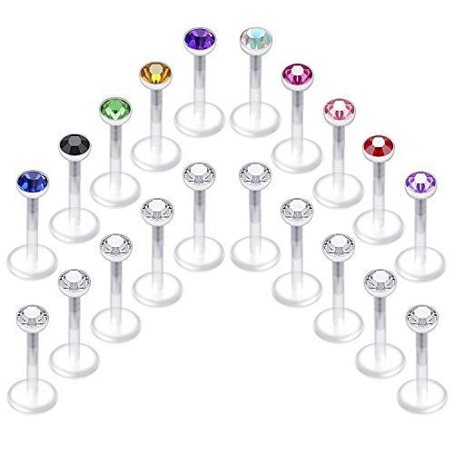 Briana Williams 20er Bioflex Lippenpiercing Stecker Retainers Labret Bars Flexibel Kunststoff 6/8/10mm Stab Piercing Lippe