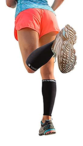 Calf Compression Sleeve – BeVisible Sports Men and Women's Leg Compression Sleeves - True Graduated Compression - Calf Guard Shin Splints Sleeves - Great for Basketball, Running, Baseball, Walking, Cycling, Training and Travel - Boosts Circulation - Aids Faster Recovery – 1 Pair - Satisfaction Guaranteed (Black,