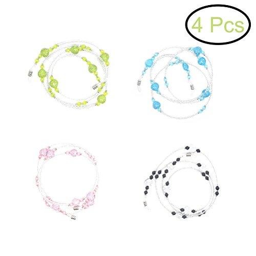 rosenice Gafas de sol cadena 4piezas Beaded Gafas de vista Cords and correa soporte para gafas de mujer (Amarillo + Azul + Negro + Rosa) preisvergleich