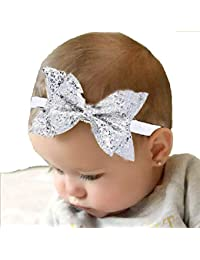 Ziory 1pcs Silver Baby Girl Baby Boy Unisex Newborn Bow Knot Hair band Elastic Bow Headband Kids Hair Accessories Silver Color Headbands with Tiaras Crowns Princess Head Band Photo Props Crown Headband For Baby Boys and Baby Girls