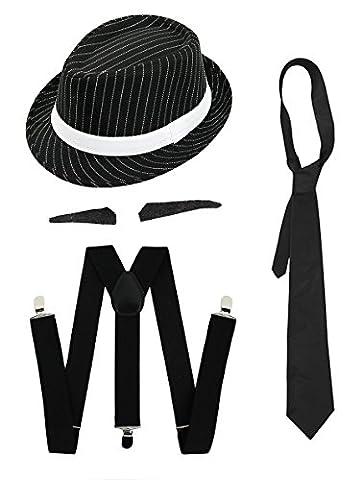 Gangster Kostüm der 1920er Reihe -Zubehör Set Deluxe - Schwarze