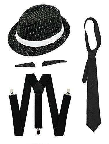 Gangster Kostüm der 1920er Reihe -Zubehör Set Deluxe - Schwarze Hosenträger + Schwarze Krawatte + Schwarzer Spiv/Schnurrbart + Schwarzer (Kostüm Gatsby Film)