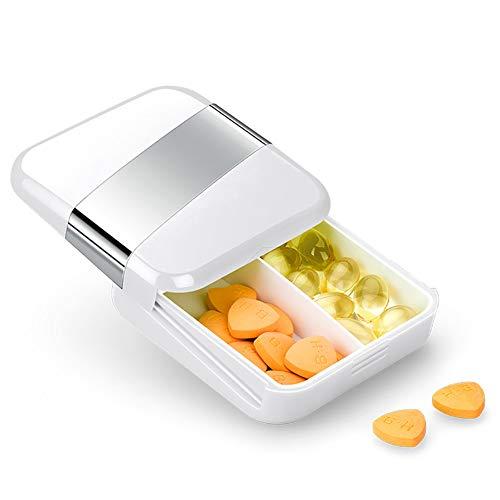 Pillendosen Push-Pull-Fach große kapazität tragbare tägliche Vitamin-aufbewahrungsbox, 2st,White