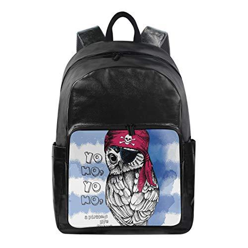 Lustiger Rucksack Pirat Tier Vogel Eule Schultertasche Wandern Camping Daypack Schule Reise Computer Tasche für Kinder Jungen Mädchen Männer Frauen