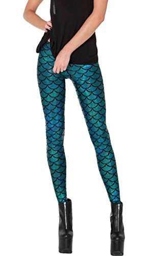 DODOING Damen Sexy Mermaid Fish Scale Leggings Hose Slim Stretch Weiche Glanz Leggings Meerjungfrau Fisch Schuppen Print Drucke Strumpfhose