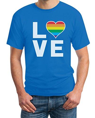 LGBT Shirt Homosexuell Gay Pride Regenbogen Herz in Love Rainbow Herren T-Shirt X-Large Hellblau