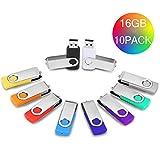 Chiavetta USB 16 GB 10 pezzi Pennette USB 16Giga Pen Drive -JUYUKEJI Chiavetta Pennetta Girevole USB 2.0 Unità Memoria Flash (10 Multicolore)