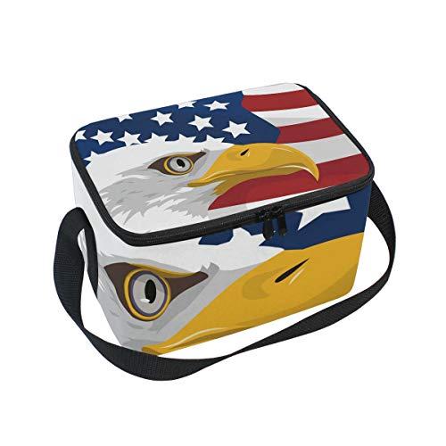 American Eagle Handtasche (Isolierte Lunchtasche American Eagle USA Flag Lunchbox Thermo-Handtasche Lebensmittelbehälter Kühler Wiederverwendbar Outdoor Reisen Arbeit Schule Gurt Lunch Tote)