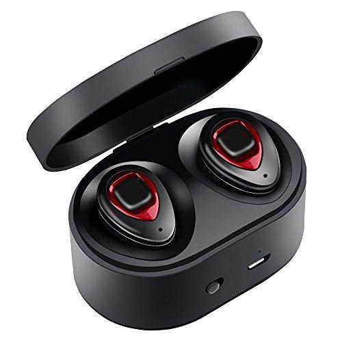 Auricolari Bluetooth - XIAOWU Versione 4.1 con Microfono Integrato e Base di Ricarica Effetto Audio Stereo con Cancellazione del Rumore Compatibili con Dispositivi Apple e Android (Rosso)