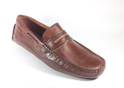 Scarpe uomo mocassino casual in pelle marrone car shoes 5113 Marrone