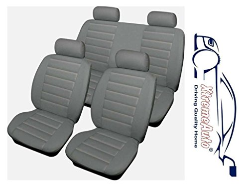 XtremeAuto® Bloomsbury Grey Leather Look 8 PCE Car Seat Covers Complete With Sticker