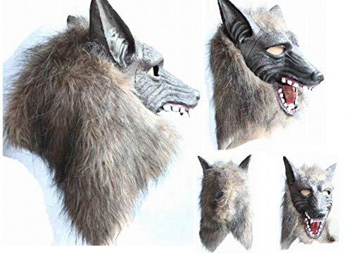 (JIE Halloween Horror Teufel Maskerade Requisiten Maske Vollkopf Wolf Kopfbedeckung,grau,Latex braun)