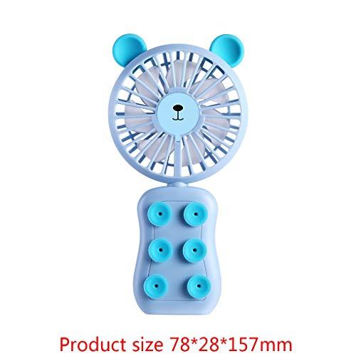 F-blue Karikatur-LED-Lampe wiederaufladbare tragbare Lüfter Hand Desktop-Batteriebetriebene 2-Gang-Fan