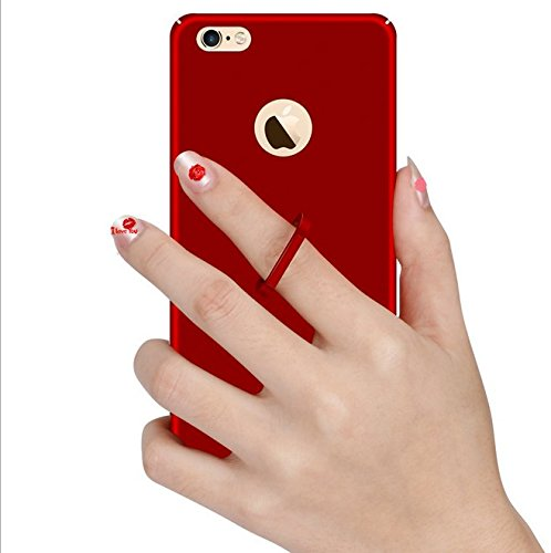 Qissy® Thin Fit Premium Matte Finish Hard Case für iPhone 6 Plus / 6S Plus , mit Universal Rotating Metall Ring Finger Griff Stand (iPhone 6 Plus / 6S Plus, Rose Gold) Rote