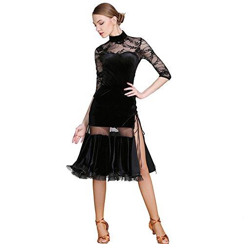 Q-JIU Latin Dance Rock Samt Hohen Kragen Spitzen Ärmel Sexy Spitze Hohle Nähte Kostüm,Black,L