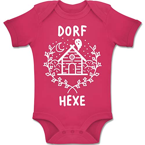 Shirtracer Anlässe Baby - Dorfhexe Halloween - 1-3 Monate - Fuchsia - BZ10 - Baby Body Kurzarm Jungen Mädchen