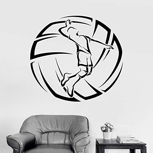 zhuziji 3D Vinyl Wandtattoos Volleyball Player Ball Sport Aufkleber Dekoration Wohnzimmer Kunstwand Removabl weiß 42x42 cm