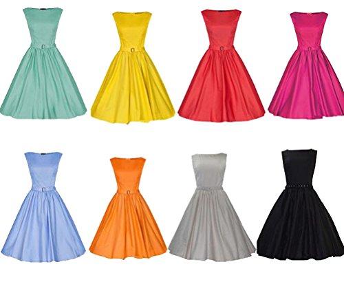 MILEEO 2016 Version2.0 Vintage 1950s Audrey Hepburn robe de soirée cocktail, bal style années 50 Rockabilly Swing Grau