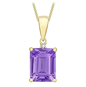 Carissima Gold 9 ct Yellow Gold with 0.51 ct White Diamond and Amethyst Square Pendant on Curb Chain Necklace of Length 46 cm/18 inch