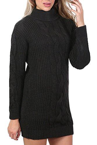 PILOT® Zopfmuster lange Ärmel Rollkragen Pullover Kleid in schwarz, größe One Size (Strumpfhosen Kabel-pullover)