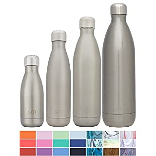 Simple Modern 500 ml Wave Water Bottle - Stainless Steel Flask - Wide Mouth Vacuum Insulated Reusable Gray Small Kids Coffee Leak Proof Travel Mug - Simple Stainless