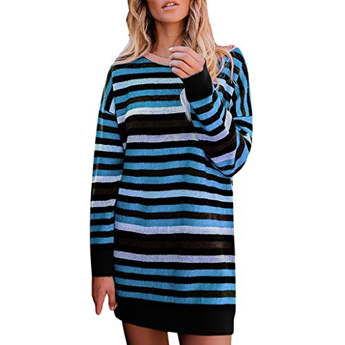Lange Ärmel Partykleid Mode Rundhals Minikleid Streifen Party Kleid Langarm Lässige Gestreift Dress A-Linie Abendkleid ()