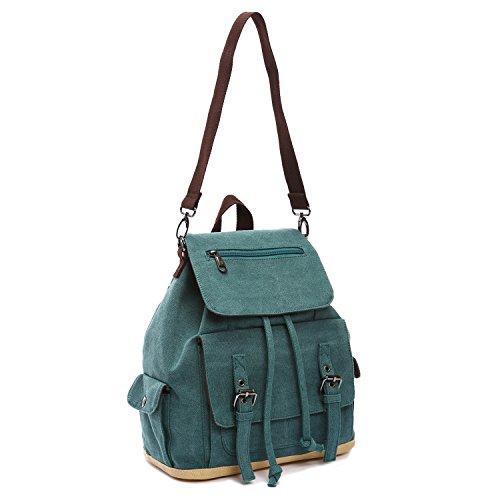 Outreo Zaino Donna Borsa Ragazza Vintage Bag Laptop Backpack per Studenti Borsello Scuola Università Casual Borse Viaggio Zaini Coulisse Sacchetto Firmate Verde