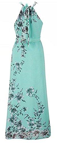 YOGLY Damen Kleid Sommer Elegant Schulterfrei Ärmellos Blumen Gedruckt Chiffon Maxikleid Cocktailkleid Strandkleid Partykleid Blau