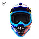 seasaleshop Schutzhelm Fullface Helm Motocross Helm für Motorrad Crossbike Off Road Enduro Sport mit Anti-Vibrations-Sonnenblende 57-64cm ECE Zertifiziert