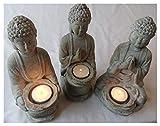 Juego de tres estatuas de jardín de Buda para velas de té - efecto piedra a prueba de...