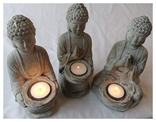 Juego de tres estatuas de jardín de Buda para velas de té...
