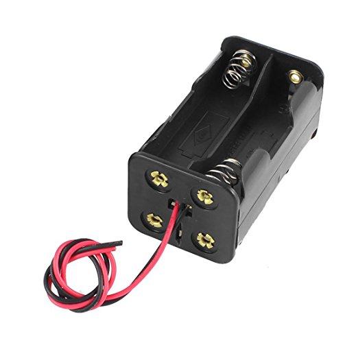 SODIAL (R) 2 Stueck Doppel Schicht Kunststoff 4 x AA 6V Batterie Halter mit Draht - Schwarz -