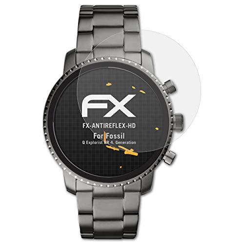 atFoliX Schutzfolie kompatibel mit Fossil Q Explorist HR 4. Generation Bildschirmschutzfolie, HD-Entspiegelung FX Folie (3X)