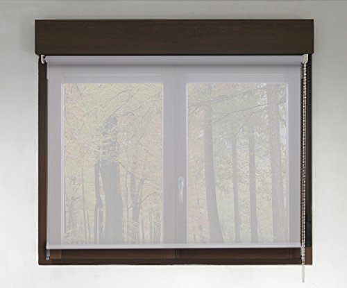 Estor enrollable a medida PREMIUM screen (permite paso de luz y ver el exterior sin que lo vean). Color blanco perla. Medida 246cm x 160cm para ventanas y puertas