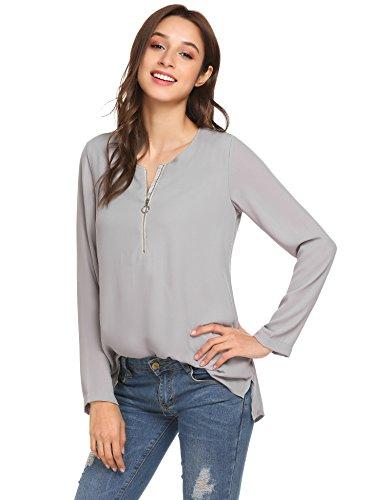 Finejo Damen Elegant Blusen Tunika Blusenshirt Langarmshirt Rundhals Oberteile  T-Shirt mit Reißverschluss Vorne Grau ... 09f7664498