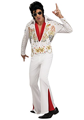 Elvis Rockstar Kostüm für Herren - Weiß - M (Gr. (Elvis Herren Kostüme)