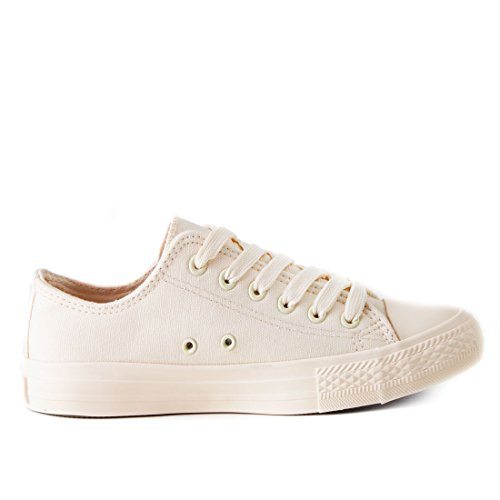 Alte Sneakers Unisex Donna Classiche Scarpe Tutte Basse Basse Beige Da Rqf61