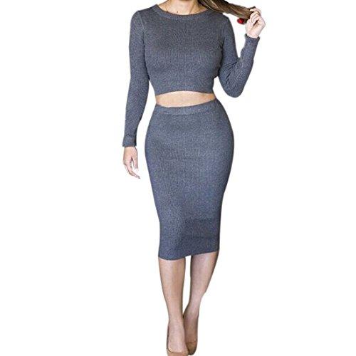QIYUN.Z Nouvelle Femmes De Couleur Unie Moulante Sexy Manches Longues Ventre elegante Robe Deux Pieces Combinaisons Gris