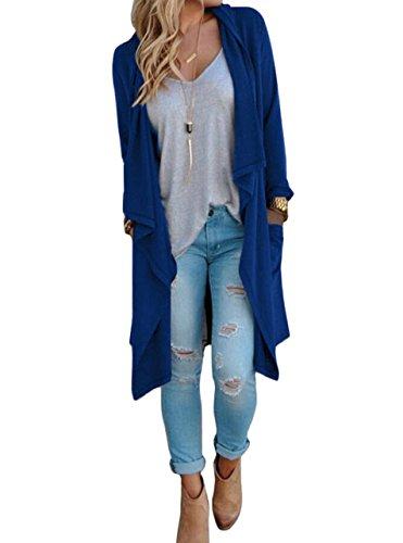 SwissWell Damen Strickjacke Cardigan Pullover Blazer Oberteil Open Front Jacke Mantel Langarm Loose mit Taschen Blau M