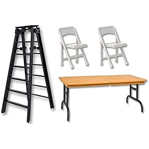 6 Black Folding Ladder, Brown Wood Effect Breakaway Table & 2 Silver Chairs - Wrestling Figure Accessories (WWE/TNA) by Wrestling Trader