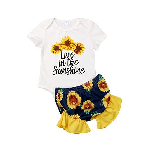 BURFLY Sommer Mode Baby Kleinkind Mädchen Brief Gedruckt Rundhals Kurzarm Strampler Tops + Sonnenblumen Floral Shorts Outfits Set