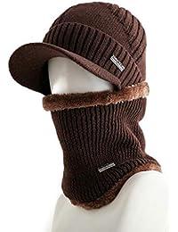 0dbe9e801ca6 W Z Bonnet pour Homme Coupe-Vent Chapeau Chapeau Chaud pour Chapeau d hiver  avec Rebord pour écharpe en…