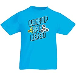T-Shirt pour Enfants Wake up, Spin, Repeat - My Fidget Spinner (14-15 Years Bleu Clair Multicolore)