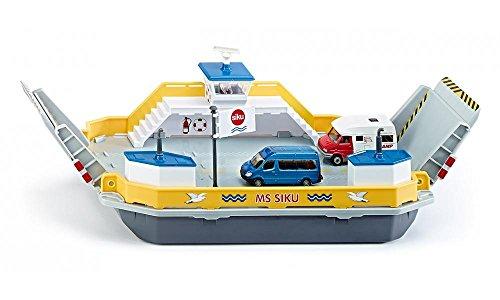 SIKU 1750 - Ferry, Métal/Plastique, Jaune/Gris, inclus 2 Voitures-jouets, Rampe mobile