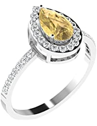 His & Her .925 Sterling Silver, Solitaire And Citrine Ring For Women