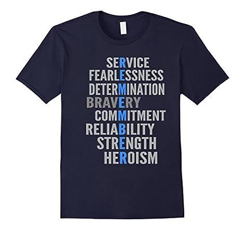 Men's police shirt- Police memorable thin blue line matter 3XL Navy