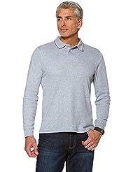 Hommes Uni Polo Coton Haut T-shirt Manches Longues Jersey Extensible Haut