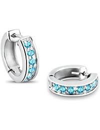 Elli Damen-Creolen 925 Sterling Silber Zirkonia blau Brillantschliff 3200920