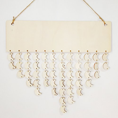 slylive Holz Aufhängen Kalender, Geburtstag Reminder Board DIY, für Home Wand aufhängen Dekoration, Crescent Moon, 15.75×4.72×0.16in (Kleine 2015 Kalender Planer)
