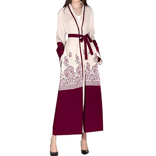 ca4d87ebc43 Vaycally Muslim Dress for Women Summer Islamic Kimono Maxi Long Sleeve Long  Coat Moroccan Kaftan Caftan